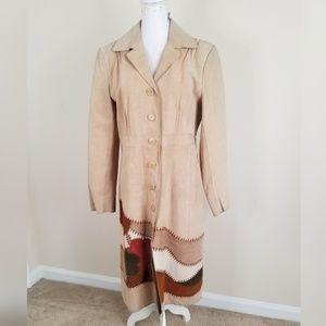 Nine West Tan Brown Patchwork Suede Coat L